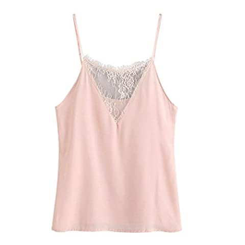DAYSEVENTH Trendy Women Sexy Sleeveless Crop Vest Tank Shirt Casual Blouse Cami Shirt Top (XL, Pink)