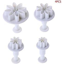 Fogun - Juego de moldes de plástico para tartas de margaritas, cortador de galletas de chocolate, herramienta de decoración
