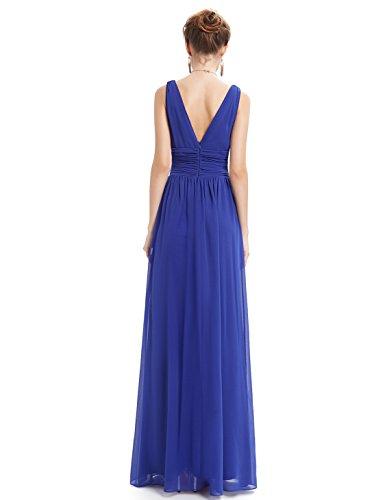 Ever Pretty Robe de Soirée V-Col Longue Mousseline 09016 Bleu sapphir