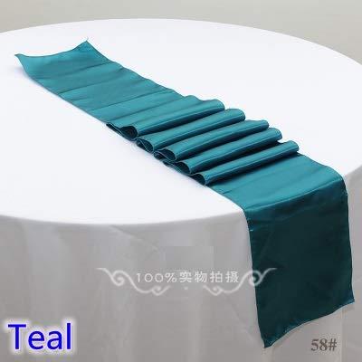 Teal Farbe Hochzeit tischläufer Dekoration Satin tischläufer für Moderne Party Home Hotel bankett decoration30 * 275 cm 5 stücke (Teal Hochzeit Farben)