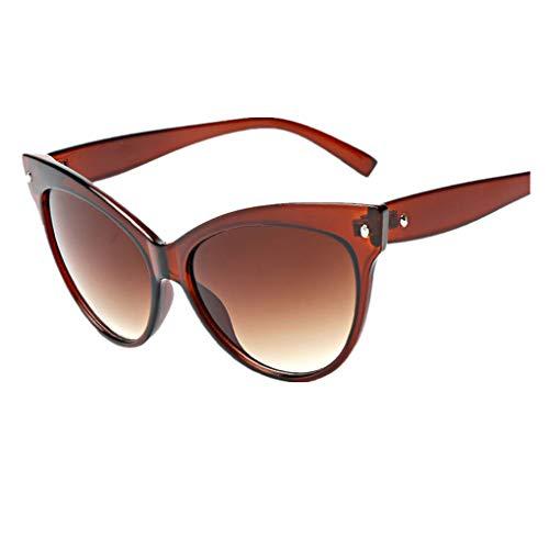 Dorical Damen Sonnenbrillen, Katzenaugen kleine ovale Sonnenbrille für Frauen Retro Metallrahmen gelb rot Vintage Sonnenbrille Sale(B)