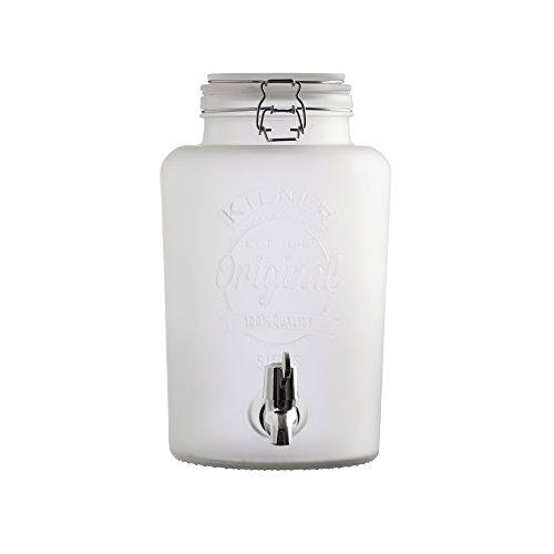 KILNER - Dispensador de Bebida, Vidrio, Blanco, 5 L