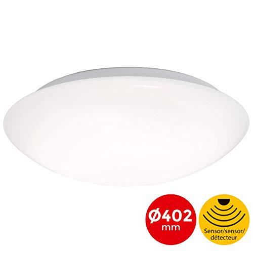 Briloner Leuchten LED Deckenlampe mit Bewegungsmelder, Deckenleuchte mit Tageslichtsensor (optional einstellbar) Kunststoff 20 W, Weiß Ø40.2 cm