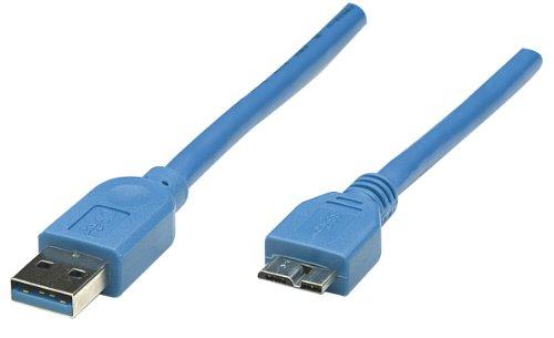 Manhattan 325417 SuperSpeed USB 3.0 Anschlusskabel (A-Stecker auf Micro-B-Stecker) 1 m blau