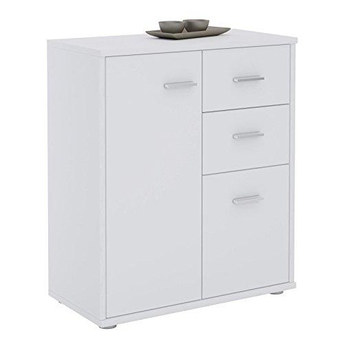 CARO-Möbel Kommode Locarno Highboard Bürokommode mit 2 Schubladen und 2 Türen in Weiß