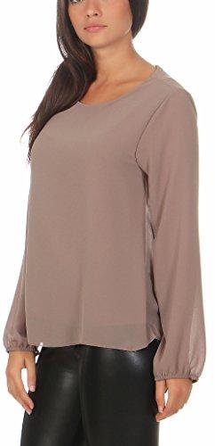 Malito Damen Chiffon Bluse | Tunika mit Fledermaus Ärmeln | Blusenshirt Leicht Durchsichtig | Elegant �?Shirt 6223 Fango