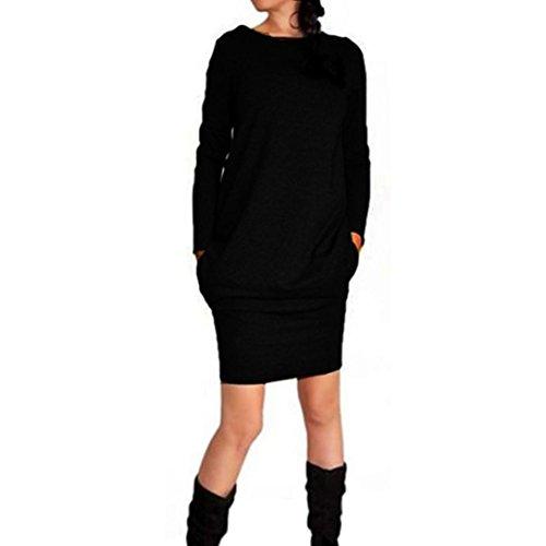 Vestido de las mujeres, Amlaiworld Vestir de manga larga ocasional (XL, Negro)