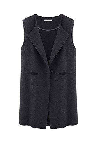 La Femme Est Élégante Veste Sans Manches Veste Gilet Revers Gilet 1 Bouton Black