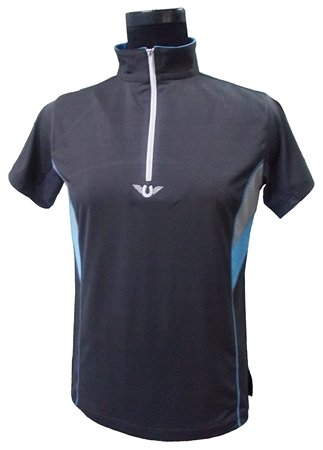TuffRider Damen Poloshirt mit Reißverschluss, kurzärmelig, belüftet, Neonfarben, Damen, Charcoal/NeonBlue, X-Large