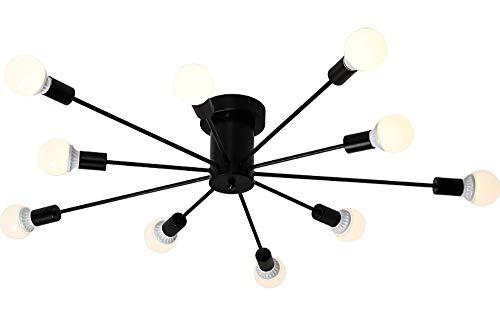 HXSON Moderne Deckenleuchte Persönlichkeit Spinne Schmiedeeisen Zweig Licht - 10 Köpfe Led Energiesparlampe Augenlampe Geeignet Für 20-30m2 Schlafzimmer Wohnzimmer Dekoration-Black -