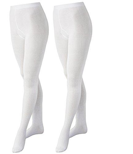 EveryKid Ewers 2er Pack Mädchenstrumpfhose Strumpfhose Markenstrumpfhose Kleinkind ganzjährig Kinder (EW-94245-S17-MA4-901-901-110/116) in Weiß-Weiß, Größe 110/116 inkl Fashionguide