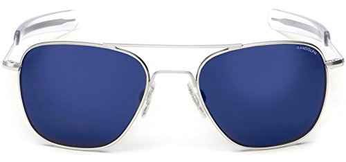 Randolph Sunglasses Aviator Matte Chrome Blue Mirror 58 AF171 NEW