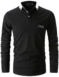 GHYUGR Casual Polo de Mangas Largas para Hombre Algodón Slim Fit Camiseta Camisas Deporte Golf Tennis