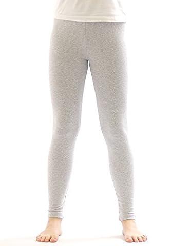 Leggings thermiques pour enfant fille leggings long en coton-doublure polaire gris 128