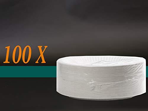 Assiettes en carton 23 cm-blanc-lot de 100 quantité = 100