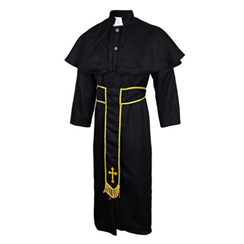 D DOLITY Halloween Priester Ksotüm Cosplay Outfit Herren Damen Robe Mantel Umhang Pfarrer Pastor Kirche Religiösen Kostüm - M