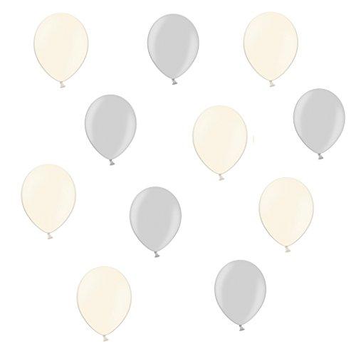 25 Creme & Silber Metallic - ca. Ø 28cm - 50 Stück - Ballons als Deko, Party, Fest, Baby, Junge, Mädchen, Geburt, Hochzeit - Farbe Creme & Lila - für Helium geeignet - twist4® (Lila Und Creme-hochzeit)