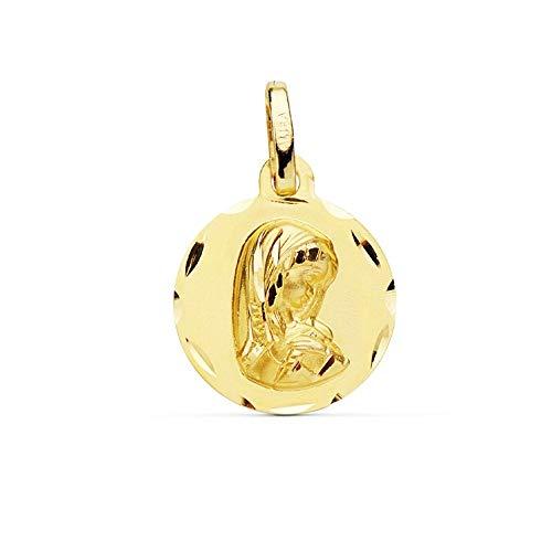 Medalla Oro 9K Virgen Niña 14mm. Lisa Redonda Cerco Detalles Tallados - Personalizable - Grabación Incluida En El Precio
