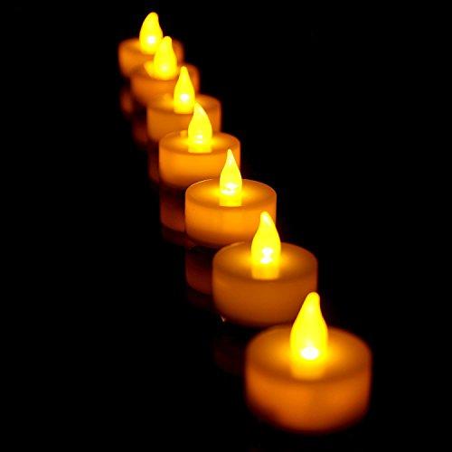 fourHeart LED Weihnachten Kerzen D36 x H36 MM (12er Set) Teelichter flammenlose Fest Licht Beleuchtung mit Flackereffekt batteriebetrieben, perfekt für Parties, Konzerte Hochzeit, Geburtstag und Festivals wie Halloween und Weihnachten entworfen - warm Gelb - 6
