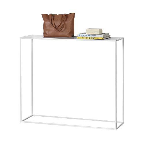 [en.casa] Konsolentisch - Weiß 109,5 x 31,5 x 94,5cm - Flurtisch Konsole Kommode Highboard (Schmale Konsole Tisch Weiße)