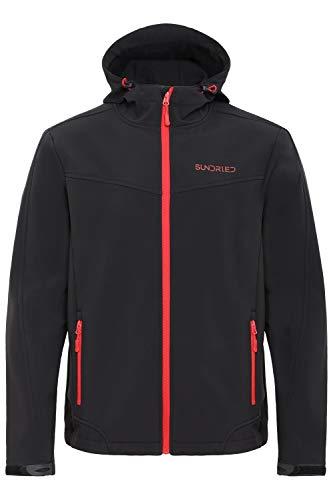 Sundried Nero Softshell Giacca impermeabile tecnico per gli uomini Ideale per sport invernali - con cappuccio cappotto caldo (Medium, Nero)