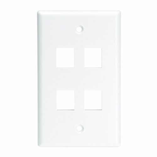 Leviton 41080-4WL QuickPort Wallplate For Large Connectors, Single Gang, 4-Port, White by Leviton (Leviton 4 Gang)