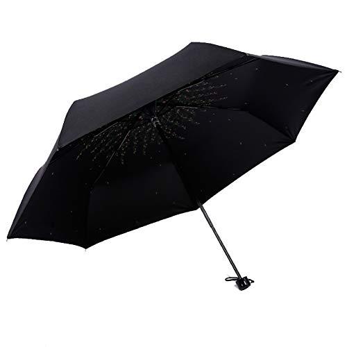 Regenschirm Winddicht Sonnenschirm Sonnenschutz Einfache Vinyl DREI Falten Mini Regenschirm Für Männer Frauen Dame Für Angeln Einkaufen Im Freien (Farbe: Schwarz) - Frei Von Chemikalien Sonnenschutzmittel