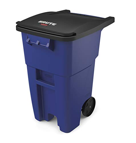 Rubbermaid Commercial 50gal BRUTE HDPE Rectangular Rollout Trash Can with Lid - Blue (Rubbermaid Brute Abfalleimer)