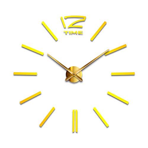 Preisvergleich Produktbild WOOLIY Large Wall Clock Moderne DIY Big Watch Decals 3D-Sticker Spiegel Effekt Wall Clock Home Removable Decoration for Living Room, A