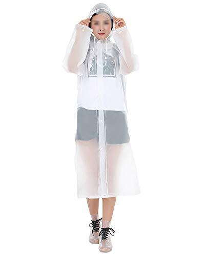 DianshaoA Regenjacke Für Erwachsene Wiederverwendbar Regenponcho Eva Regenmantel Wasserdicht Regenjacke Kann In Einen Rucksack Gesteckt Werden Weiß L