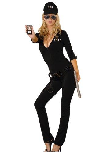 Elegant Moments Damen Sexy FBI Agent - Schwarz - (Frederick Hollywood Kostüm)