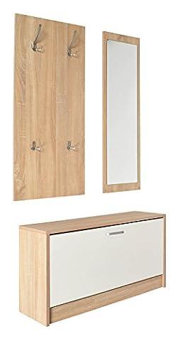 ts-ideen 3er Set Wand-Garderobe Wand-Spiegel Schuhkipper Schuhschrank Sitzbank Eiche Hell