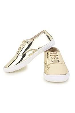 Trendy Fashion Women's Gold Sneakers (ST-1092-Golden-36)
