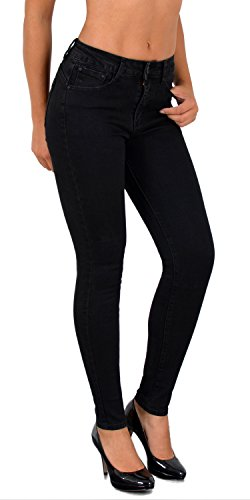 ESRA Damen High Waist Jeans Hose Jeanshose Skinny Hochbund Hose bis Übergröße 48, 50, 52# S200