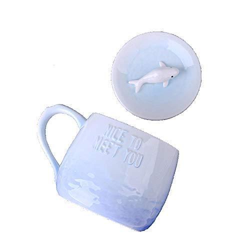 rlauf Becher Meerestiere Wal Seelöwe Krake Kreative Keramik Überzogene Löffel Büro Persönlichkeit Kaffee Frühstückstasse Weiblich, Blau ()