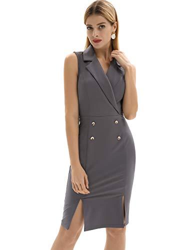 GRACE KARIN Robe de Soirée Vintage Cocktail Élégante avec Boutons Robe Crayon pin up pour Femme Travail Gris S CL019-2