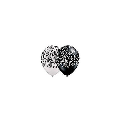 t-Design, 27,9cm, Schwarz / Weiß, 5 Stück (Damast-ballons)