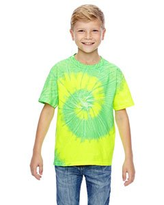 Youth 5.4 oz., 100% Cotton Tie-Dyed T-Shirt FLO YELLOW/ LIME S (Youth Dyed T-shirt Cotton)