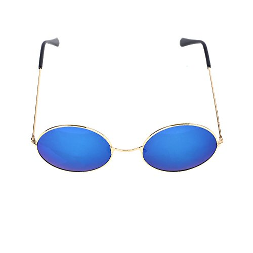SSXY Hombres Mujeres Gafas de sol con espejos redondos vintage Gafas de sol al aire libre Gafas de sol Wayfarer, para todos los días Casual (azul)