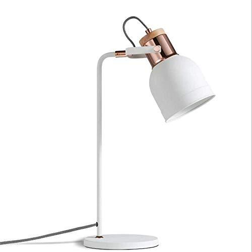 Schreibtischlampe Studie Büro Einfache Moderne Schlafzimmer Nachttischlampe E27 Sockel Augenpflege Leselampe Einstellbare Schatten Schmiedeeisen Holz Weiße Tischlampe Mit Knopfschalter Für Wohnzimmer Dekoration