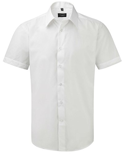 Russell Collection Men's Tailored Poplin Short Sleeve Shirt Blanc