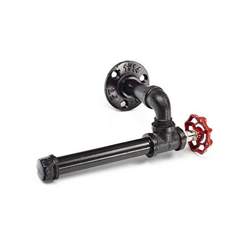 Y-Nut Rustikaler Industrie-Rohr-Wand-Toilettenpapierhalter mit Schraubsatz, strapazierfähiger Steampunk-Toilettenpapierspender, modernes Design, galvanisiert, schwarzes Eisen-Finish -