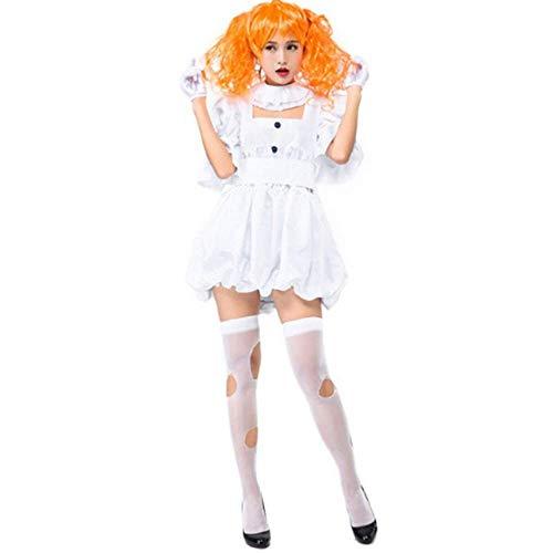 (GHLLSALTeen Mädchen & Ladies Halloween Horror Toten Böse Geisterpuppe Kostüm Weiß Fancy Short Dress Maskerade Kleidung für Frauen, Eine Größe)