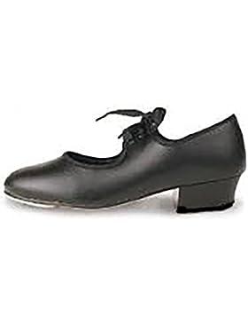 Las niñas roch valley zapatos de claqué con negro, tamaño grande infantil 5a 5