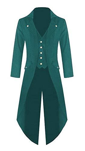 Shujin Herren Vintage Frack Steampunk Gothic Jacke Viktorianischen Langer Mantel Fasching Karneval Cosplay Kostüm Smoking Jacke - Grüne Smoking Für Erwachsene Kostüm