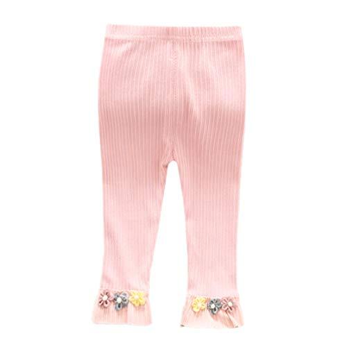 Happy Event Neugeborenes Baby Stripe Skinny Flowers Hosen Stretchige warme Gamaschen Stricken Baby Panty Schlauch (Rosa, 12-18 Months-8) (Rosa Boot-gamaschen)