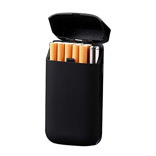 Eine Zigarettenschachtel und EIN elektronisches USB-Turbofeuerzeug für Plasma-Feuerzeuge Lady Women Cigarette Tobacco Storage Case, Pure Black