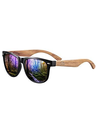 Amexi Herren und Damen Polarisierte Sonnenbrille mit Holzbügeln, UV-Schutz, mit Brillen-Etui, Schraubenzieher, Brillen tuch und Tasche (Blau2)