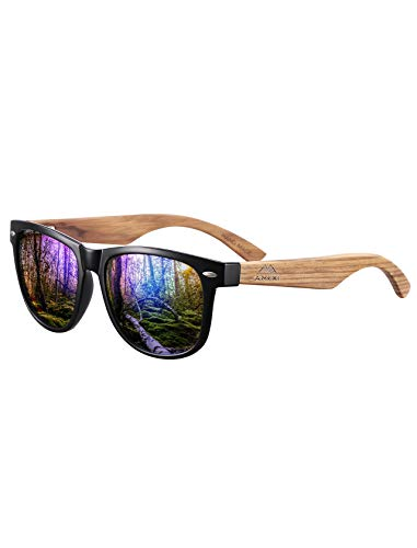 Amexi Herren Damen Polarisierte Sonnenbrille, Unisex Holz/Bambus Sonnenbrille, UV400 (Blau)