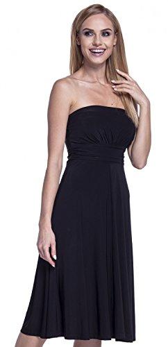 Seidiges Kleid (Glamour Empire. Damen Seidig Kleid Trgerlos Ausgestelltem Schlauchkleid. 129 (Schwarz, EU 40/42, XL))